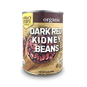 Nature's Greatest Foods, Organic Dark Red Kidney Beans, Vegan, Gluten Free, Ready to Serve, 15 Ounce (Pack of 12)