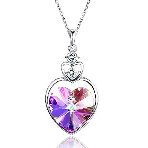 Sllaiss Love Guardian Heart Pendant Necklace with Crystals from Swarovski,Jewelry Gift for Women Birthday Anniversary