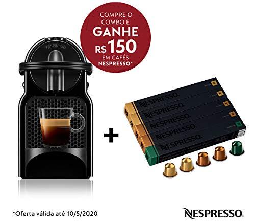 Cafeteira Nespresso Inissia Preta 110V e Seleção Equilibrados 50 cápsulas de café