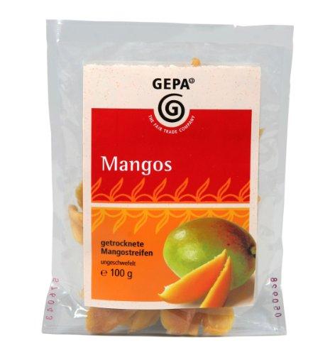 GEPA Getrockente Mangostreifen, ungeschwefelt und gesüßt, 3er Pack (3 x 100 g Packung)
