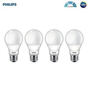 Philips LED A19 SceneSwitch Daylight 3-Setting Light Bulb: Bright/Medium/Low (60-Watt Equivalent) E26 Base, 4-Pack