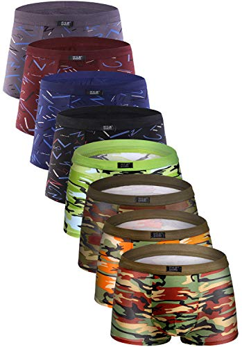 YOULEHE Men's Underwear Soft Bamboo Boxer Briefs Stretch Trunks Pack (Medium, 8 Pack 012)