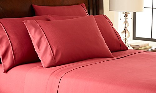 1 Bed Sheet Set Queen Size Burgundy Rust BrickSolid Soft Quality Genuine 800-Thread-Count 15 Pockets Super Rich Egyptian Cotton by Rajlinen
