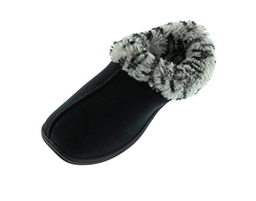 Faux Black Clogs Fur (Beverly Rock Woman's New Faux Suede, Leopard Fur Lined Clogs, in 3 Pretty Colors Black M)