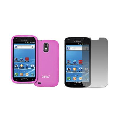 EMPIRE T-Mobile Samsung Galaxy S II Hot Pink Rosa Silicone Skin Case Tasche Hülle Cover + Displayschutzfolie Film