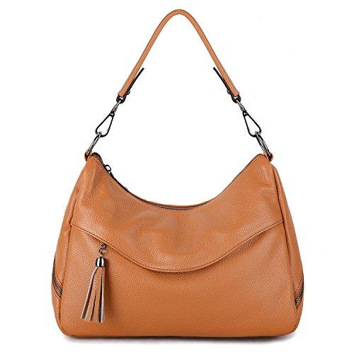 YALUXE Women's Cowhide Leather Purse Tote Shoulder Bag Hobo Handbag brown