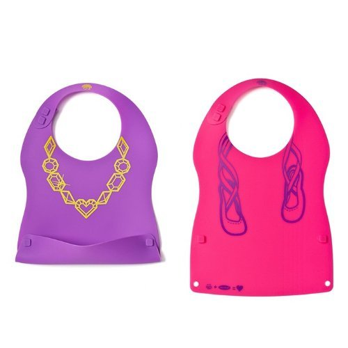 Kinderville Little Bites Silicone Bibs (Set of 2, Pink/Purple)