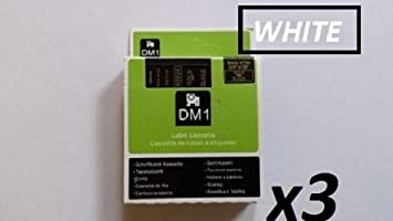 Black ON White 40913 9mm X 7m 3X Compatible DYMO D1 Series Standard Labelling Tapes