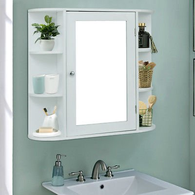 Allblessings Wall Mounted Bathroom Storage Mirrored White Cabinet Organizer Multipurpose