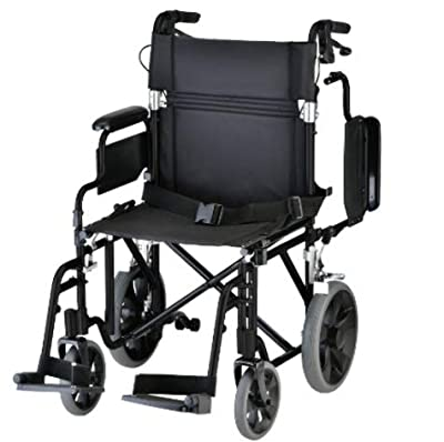 "NOVA Medical Products Nova Lightweight Transport Chair with Locking Hand Brakes, 12"" Rear Wheels, Black"