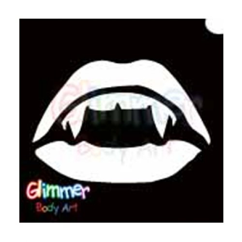 Glimmer Body Art Glitter Tattoo Stencils - Vampire Mouth (5/pack) (Halloween Mouth Stencil)