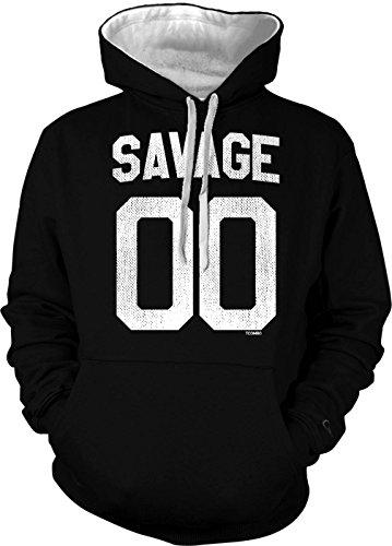 Savage 00 Men's 2 Tone Hoodie Sweatshirt (3XL, Black/White (2 Tone Hoodie)