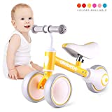 allobebe Baby Balance Bike, Cute Toddler Bikes 12-36 Months Gifts for 1 Year Old Girl Bike to Train Baby from Standing to Running with Adjustable Seat Silent & Soft 3 Wheels