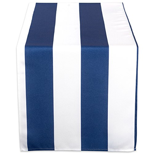 DII 100% Polyester Table Runner, Spilll Proof and Waterproof for Outdoor or Indoor Use, Machine Washable, (14x108) Nautical Blue Cabana Stripe