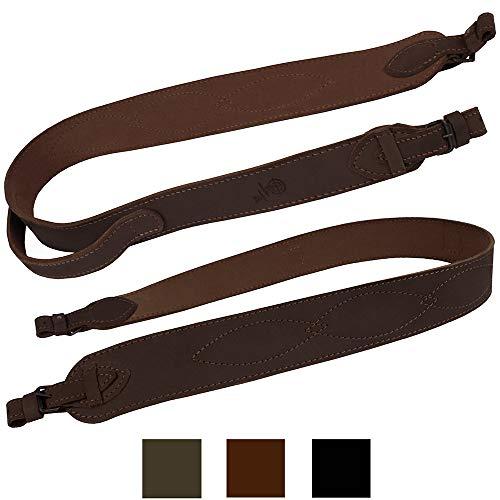 BRONZEDOG Genuine Leather Rifle Sling Ammo Adjustable Hunting Shotgun Strap with Handle (Brown)