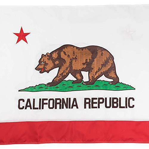 Nylon California State Flag - Jetlifee California State Flag 3x5 Ft by U.S. Veterans Owned Biz. Double Sided Embroidered Sewn Stripes and Brass Grommets Best 3 x 5 Foot USA Flag and California Flag for Outside