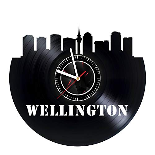 ArtoriDesign18 Wellington City - Wall Clock Made of Vinyl Record - Handmade Original Design - Great Gifts idea for Birthday, Wedding, Anniversary, Women, Men, Friends, Girlfriend Boyfriend and Teens -