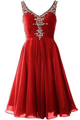MACloth Women V Neck Crystal Short Homcoming Dress Cocktail Party Evening Gown Burgundy