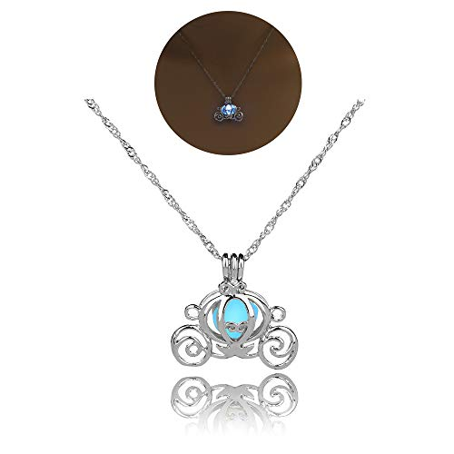 Satr and Sea Cute Luminous Pumpkin Carriage Pendant Necklace Gift Jewelry for Women Teen Girls (Blue)