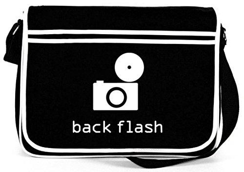 Shirtstreet24, BACK FLASH, Kamera Retro Messenger Bag Kuriertasche Umhängetasche Schwarz