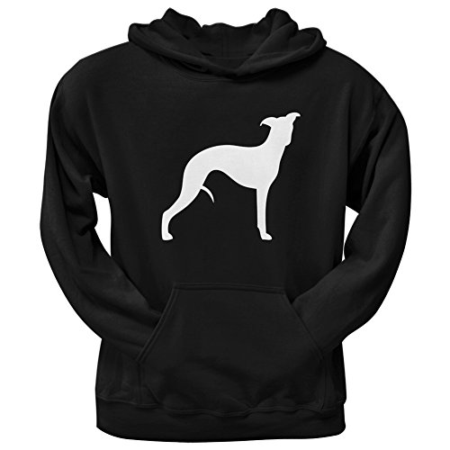 Whippet Silhouette Black Adult Pullover Hoodie - (Silhouette Pullover Hoodie)