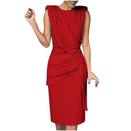 - iFOMO Sleeveless Ruched Midi Dress Polka Dots Print Bodycon Dress for Women Red XL