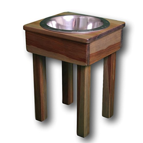 Premium Raised Dog Bowl for Large Dogs! 17'' Single bowl! Elevated Pet Feeder. Raised Bowl Stand, Raised Dog Dish. Pet Safe/Ultra Durable Finish! 100% Non-Toxic & Eco-Friendly! USA Handcrafted by OFTO by Ozarks Fehr Trade Originals, LLC