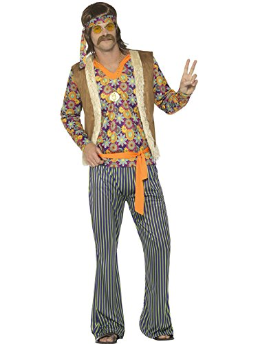 Smiffy's Men's 60s Singer Costume, Male, with Top, Waistcoat, Multi, Large