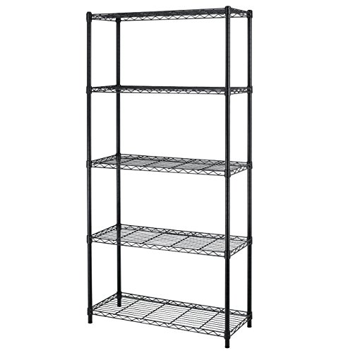 5 Shelf Home Style Black Steel Wire Shelving 36 By 14 By