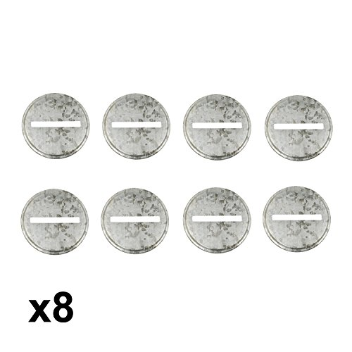 Shinny Galvanized Metal Coin Slot Bank Lid Inserts for Mason, Ball, Canning Jars (8 Pack, Wide Mouth)