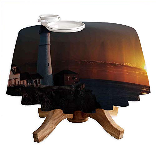 Lighthouse Decor Round Polyester Tablecloth,Portland House at Dawn Rocks Houses Fences Lamp Image Navigation,Dining Room Kitchen Round Table Cover,55