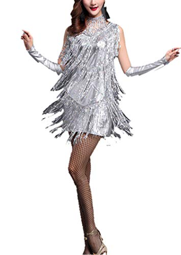 20s Gatsby Flapper Halloween Party Costumes Dresses for Adult Women Lady 16/18 Laser Silver,X-Large]()