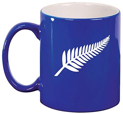 0b51fb13ffa Amazon.com: Ceramic Coffee Tea Mug Cup New Zealand Silver Fern (Black):  Kitchen & Dining