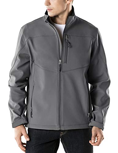 (TSLA Men's Softshell Athletic Microfleece Active Wind-Repel Coat Full-Zip Outdoor Water-Proof Jacket, Active Softshell(ykj80) - Grey, 2X-Large)
