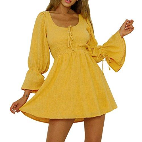 - JPOQW-autumn Women's Cotton Linen Dress Solid Color Long Sleeve Casual Party Short Beach Mini Dress