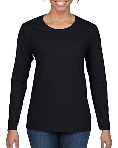 Gildan Women's Heavy Cotton Long Sleeve T-Shirt, 2-Pack, Black, Medium ()