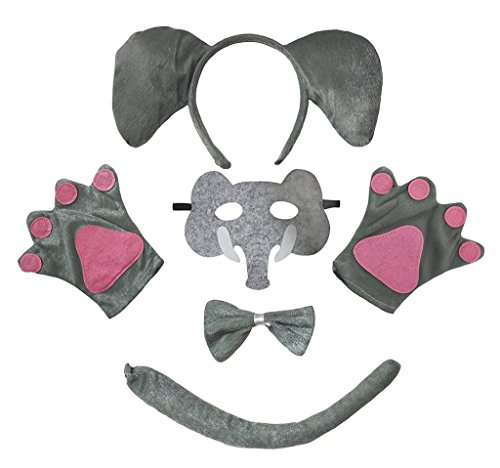 Petitebella Animal Headband Bowtie Tail Gloves Mask 5pc Children Costume (Elephant)