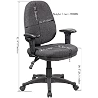 eurosports Work Chair ES-1005-GR Smart Multi Function Ergonomic Chair with Ratchet Back and Adjustable Soft Padded Arms, Grey