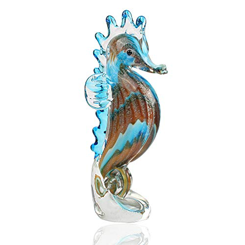 Hophen Handmade Art Glass Blown Seahorse Hippocampus Animal Figurine Dollhouse Miniature Paper Weight Statue Collectible Christmas Birthday Gift Home Decor (Blue)
