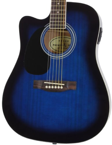 Jameson Guitars Full Size Thinline Acoustic Electric Guitar with Free Gig Bag Case & Picks Blue Left -