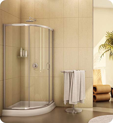 Fleurco FA363-25-65 Signature Capri Round 3 Frameless Curved Glass Sliding Shower Doors in Brushed Nickel/Prism Glass