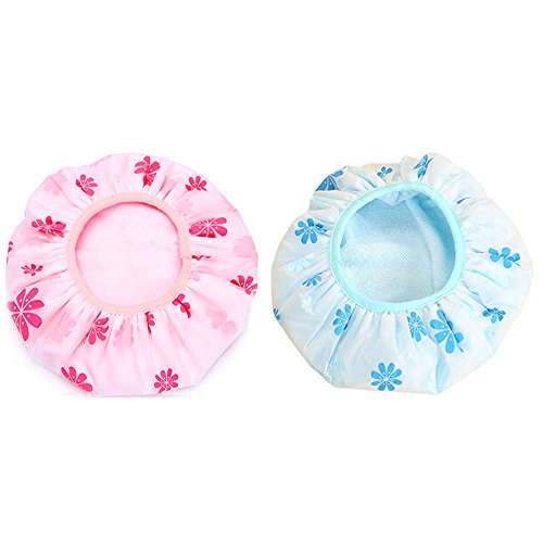 Kxtffeect 2Pcs Microfiber Double Layers Elastic Reusable Waterproof Bath Cap Shower Cap(Blue+Pink)