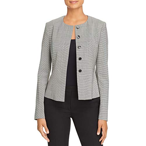 Hugo Boss BOSS Womens Javilla Wool Houndstooth Collarless Blazer B/W 0 Black/White