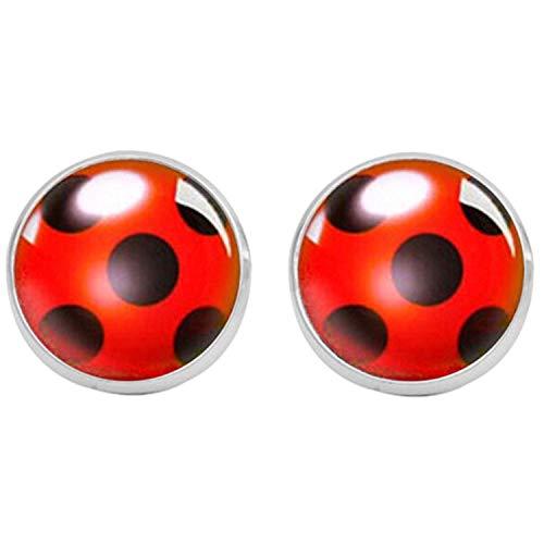 Ladybug Stud Earrings Cosplay Lady Bug Circle With Dot Animal Earrings For Women Girl Party Gift Anime Jewelry,SV