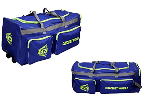 C&W MEGAPAK Cricket World Large Team Royal Blue Heavy Polyster Men's Cricket Equipment Kit Bag Senior/Boys Big Space Wheel Cricket Gears ()