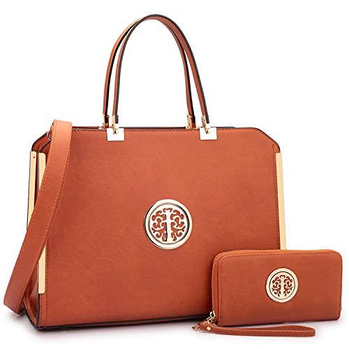 MMK collection Women Fashion Matching Satchel handbags with wallet(2526)~Designer Perfect Women Purse and Fall&Winter Style Satchel~ Beautiful Designer Handbag Set (Brown)