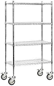 amazon com salsbury industries mobile wire shelving unit heavy duty adjustable storage shelves Wood Shelf