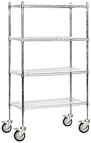 Salsbury Industries Mobile Wire Shelving Unit, 36-Inch Wide by 80-Inch High by 18-Inch Deep, (Chrome Plated Shelving Unit)