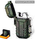MENG ZHI AO Waterproof USB Rechargeable Pulse Plasma Double Arc Lighter Intelligent Electronic Pulse Lighter Perfect for Outdoors Camping Hiking Travelling Gas Stove BBQ Camping Trip Fire Starter