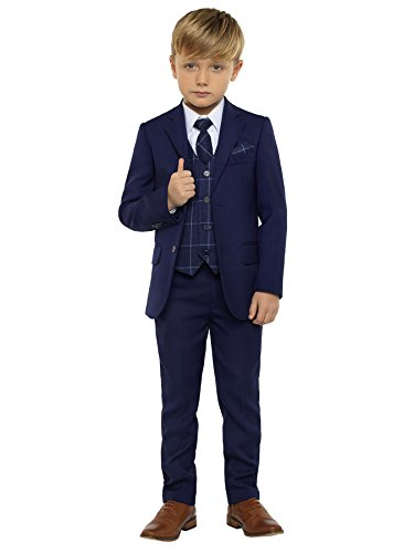 Paisley of London, Kingsman Blue, Boys Slim Fit Ring Bearer Suit with Shirt and Oliver Navy Vest, 10 by Paisley of London